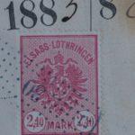 Fiscaux  Alsace-Lorraine 2,40 Mark Carmin (N° 18) sur Document Complet 4 pages – Défiscalisez mieux