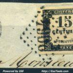 FRANCE TAXE N° 3 CACHET GC 2046 DU 20/01/1869 + CACHET OR SUR FRAGMENT – Défiscalisez mieux