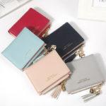 Mini Femme PU Cuir Portefeuille Carte Crédit Sac Porte Monnaie Plier Frange Mode – Défiscalisez mieux