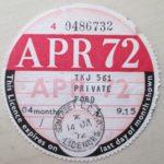TAX DISC – OLD VINTAGE VEHICLE LICENSE – QUARTERLY APRIL 1972 PRIVATE FORD – Défiscalisez mieux
