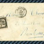 -= Timbre-taxe carré YT#2A s/lettre de BORDEAUX (Gironde) – 1859 =- – Défiscalisez mieux