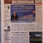 FIGARO ECONOMIE (LE) [No 20782] du 27/05/2011 – LA STRATEGIE DU PATRON DE MICROSOFT CRITIQUEE – STEVE BALLMER – EUROTUNNEL VEUT AUSSI FAIRE CIRCULER DE L'ELECTRICITE – LE CALENDRIER DE L'AIRBUS A 350 GLISSE – MADRID DEMARCHE LES EUROPEENS POUR VENDRE SES LOGMENETS – BOUVARD REMPILE POUR 2 ANS DE GROSSES TETES SUR RTL – GRAND PARIS / 200 KMS DE LIGNE ET 72 GARES – LE COUT DES NICHES FISCALES DERAPE – Réduisez vos impôts